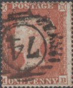1854 1d Red SG17 Plate 166 'MB'